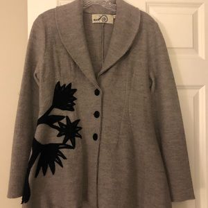 Embroidered Gray Sweater Coat